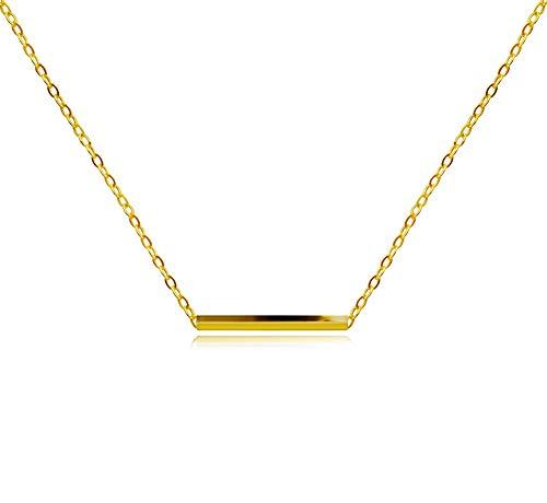 KristLand - Women 18k Rose Gold Color Plated Bar Pendant Necklace Choker Simple Design Minimalist Gold - Pendant Gold Rectangle