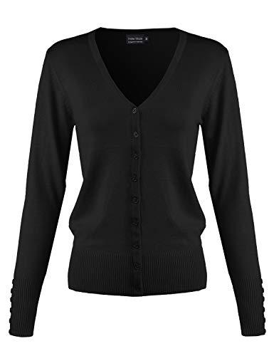 Classic Button Down Long Sleeve V-Neck Soft Knit Sweater Cardigan [S-3XL] Black XL ()