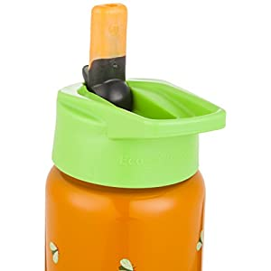 EcoVessel SCOUT Kids Stainless Steel Water Bottle with Flip Straw - 13 ounces - Orange Frog