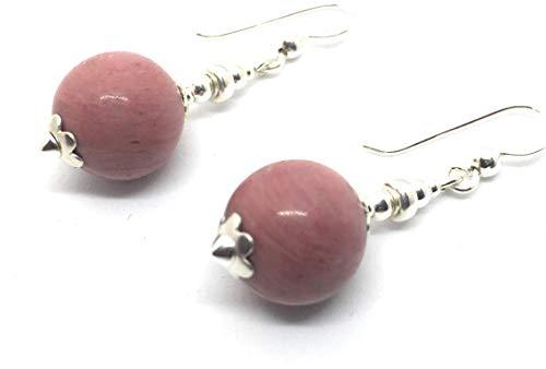 Earrings in Silver and Rhodonite, 12 mm Bead