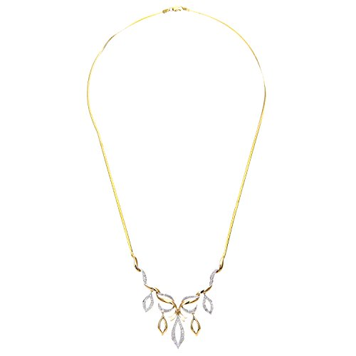 Revoni Bague en or jaune 9carats Diamant Collier avec chaîne à chevrons