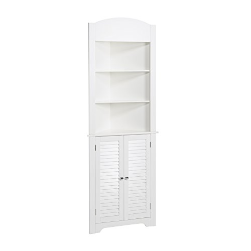 RiverRidge Ellsworth Collection Tall Corner Cabinet, White Dining Room Oak Dresser