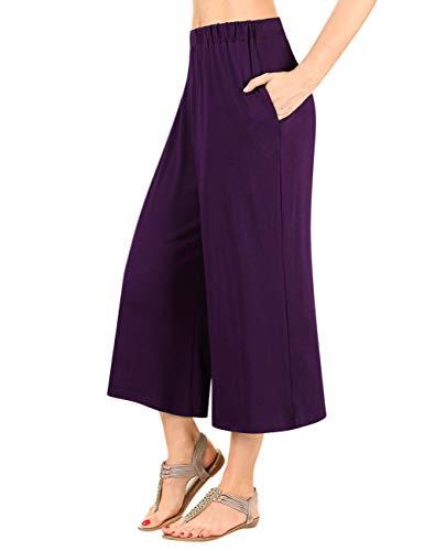 (GlorySunshine Women's Elastic Waist Solid Palazzo Casual Wide Leg Pants with Pockets (XL, Purple))