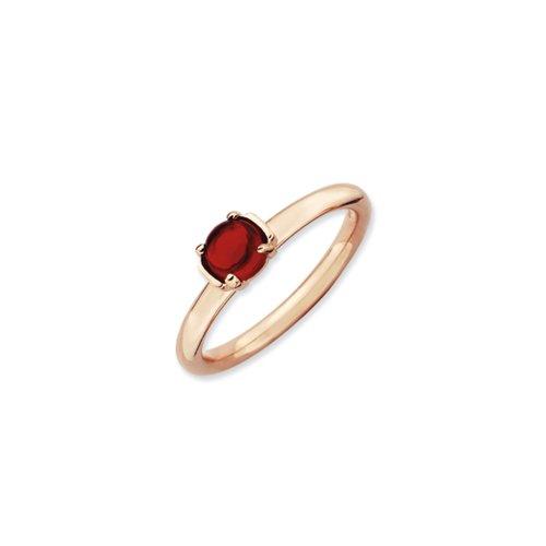 - 14k Rose Gold Plated Sterling Silver & Garnet 5mm Cabochon Ring, Sz 10