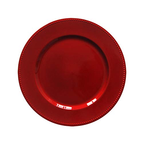 Red Plastic Beaded Charger Plates - 12 pcs 13 Inch Round Wedding Party Decroation Charger Plates (Red, 12) (Chargers Christmas)