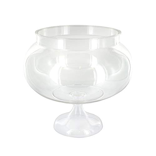 (RamPro Short Round Clear Plastic Reusable Pedestal Jar Perfect for Engagement Parties, Wedding Receptions and Wedding Anniversary Party Accessories)