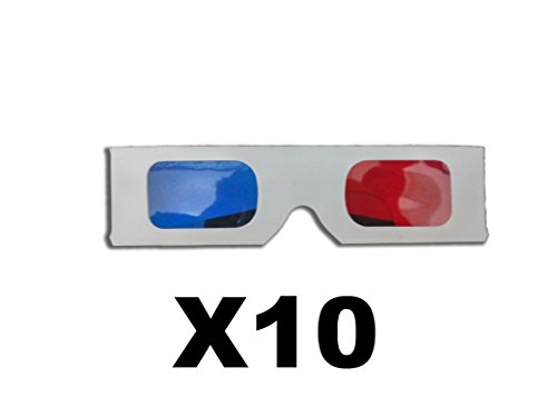 Pack of 10 Paper 3D Glasses with red/blue Lenses