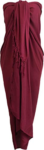 Sarong Wrap From Bali Your Choice of Design Beach Cover Up (Maroon)