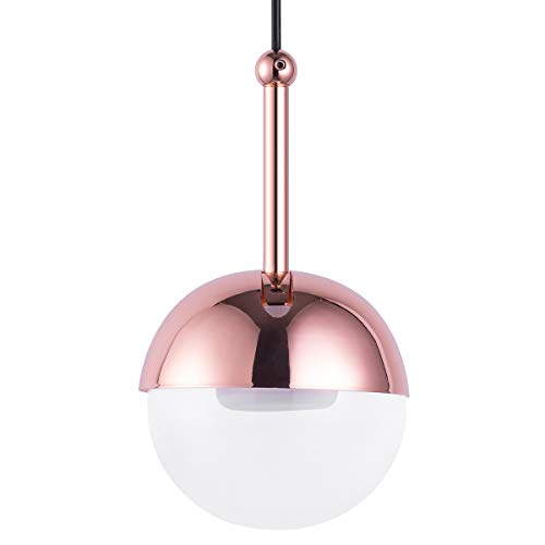 (Mini Globe Pendant Lighting for Kitchen Island, Contemporary Rose Gold Plated Clear Acrylic Ball Warm White LED Pendant Lighting Fixture for Dining Room Bar)