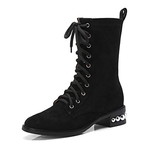 Stivali Stivali Tacco Punta da Donna Tonda Black centrali a Basso pqwpr5