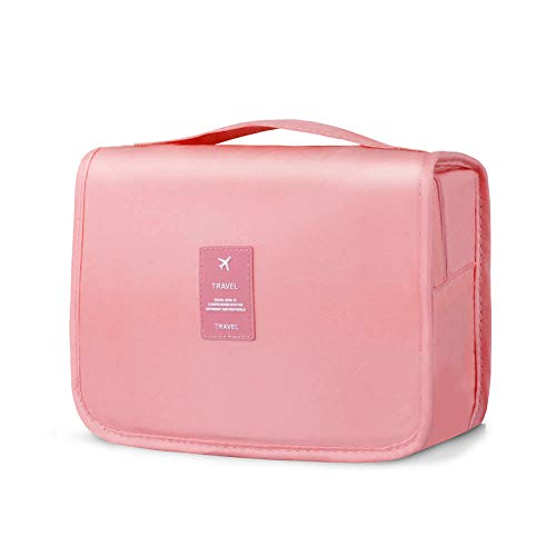 Lermende Toiletry Bag Portable Hanging Large Cosmetic Makeup Travel Accessories Organizer for Men & Women (5.Pink)
