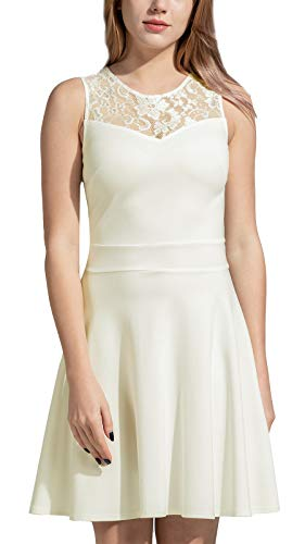 Sylvestidoso Women's A-Line Sleeveless Pleated Little White Cocktail Party Dress with Floral Lace (M, Off White)