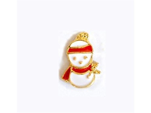 Original 5 Pcs 3D Alloy Nail Art Christmas Snowman Rhinestone Studs Decoration Wheel Set DIY Charm Nail Tools(As Shown) for Art -