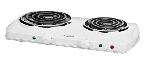Brentwood TS-368 Double Electric Burner 1500-Watt, 20.10in. x 11.70in. x 3.60in, White