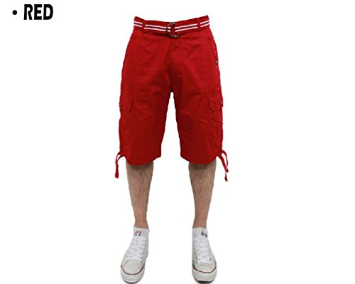Big and Tall Akademiks Cargo Shorts with Belt Pockets Cotton 44~54 Shoe Solid Red