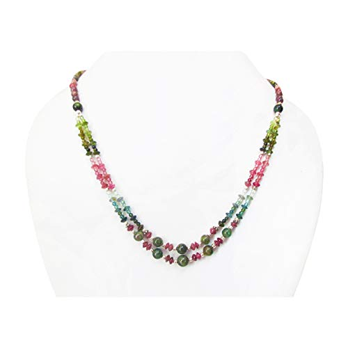(Multi strand Watermelon Tourmaline Round Saucer Beads Necklace with Sterling Silver Gift for her)