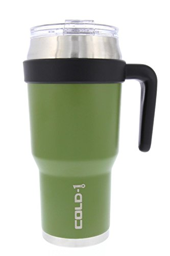 reduce COLD-1 Extra Large Vacuum Insulated Thermal Mug with Slender Base, 3-in-1 Lid & Ergonomic Handle, 40oz - Tasteless and Odorless Powder Coat (Green) (1 Drink)