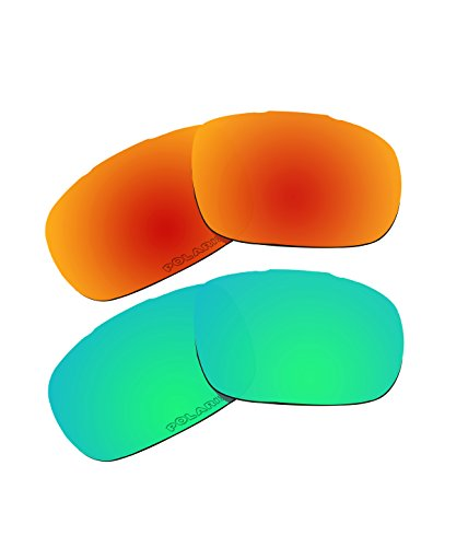 2 Pairs Polarized Replacement Lenses Green & Fire Red for Oakley Twoface - 05 Oo9189
