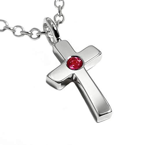 (Ruby Cross Pendant in Sterling Silver, Ruby Cross Necklace, Sterling Silver Ruby Cross Necklace, Sterling Ruby Cross Pendant, Ruby Cross Charm, Ruby Crucifix, Sterling Silver Crucifix, Christian Gift)