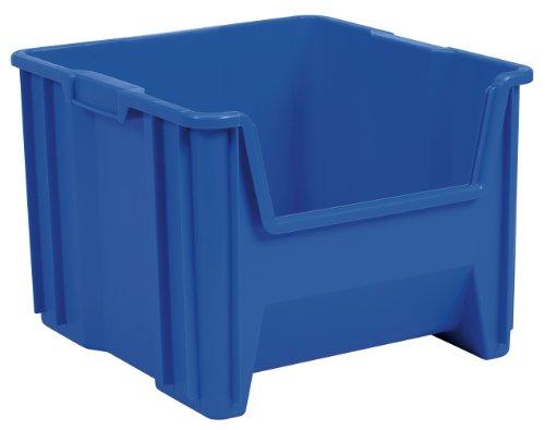 Akro-Mils 13018 Stak-N-Store Stacking Hopper Front Plastic Storage Bin, Blue, Case of 2