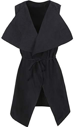 JOKHOO Women's Lapel Sleeveless Long Waistcoat Blazer Vest Cardigan with Belt -