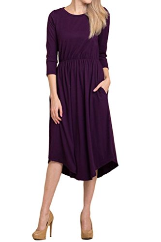 Shirred Dress Knit (iconic luxe Women's Hight Quality Knit Midi Dress with Shirred Waist X-Large Plum)