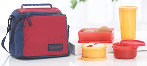 Tp-860-t187 Tupperware Premier Lunch (Including Bag) With Two Bowls, One Tumbler & One Square Box Allows You To Pack A Complete Lunch
