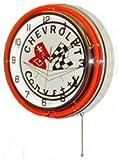 Chevy Corvette 18'' Neon Light Chrome Clock Parts Emblem Garage Sting Ray Sign