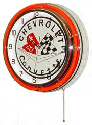 "Chevy Corvette 18"" Neon Light Chrome Clock Parts Emblem Garage Sting Ray Sign"