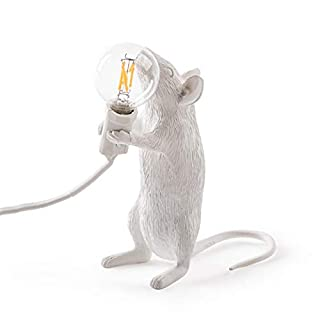 Luxurat Table Lamp Mouse Shape Resin Desk Light Bedside Lamp Light Home Room Decor