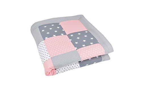BEBILINO ® Baby Krabbeldecke Spieldecke & Laufgittereinlage groß und weich gepolstert ROSA GRAU (100 x 100 cm)