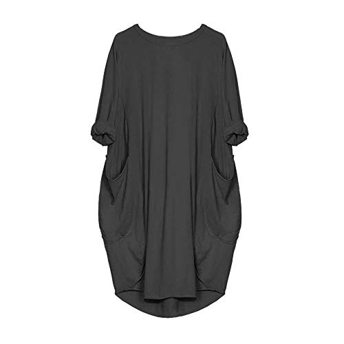 POQOQ Dress Women Loose Ladies Round Neck Casual Long Tops Long Sleeve Pocket L Dark -