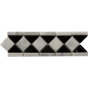 antigua black white matt mosaic border tiles amazon co uk diy tools