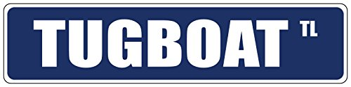 Tugboat Blue Street Sign DECAL Sticker 8x2