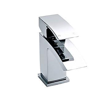 Chrom Monoblock Wasch Waschtischarmatur Wasserhahn Eckig Mit
