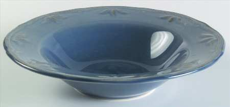 Blue Large Rim Soup Plate - Thomson Sicily-Blue Large Rim Soup Bowl, Fine China Dinnerware