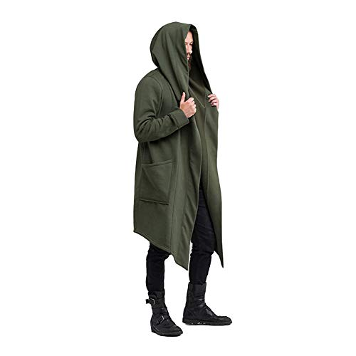 Men's Autumn Cardigan Hoodie Warm Hooded Coat Jacket Burning Man Costume Cosplay (L, Green)