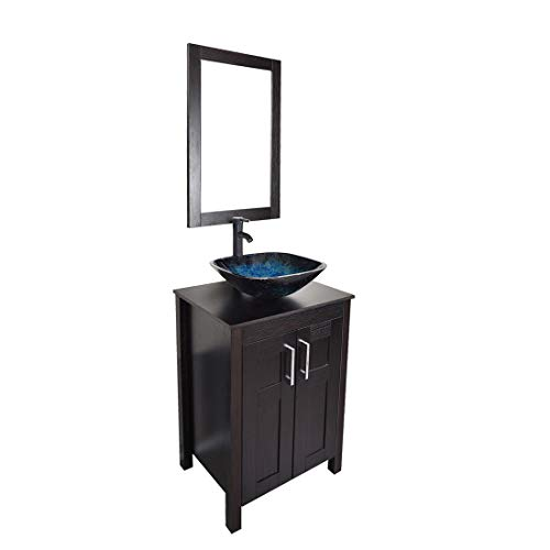 (Bathroom vanities 24 inch with Sink - Freestanding Eco MDF Sink Cabinet Vanity Organizers with Counter Top Glass Vessel Sink Vanity Mirror and 1.5 GPM Faucet Combo (Vanity+Ocean Blue Sink))