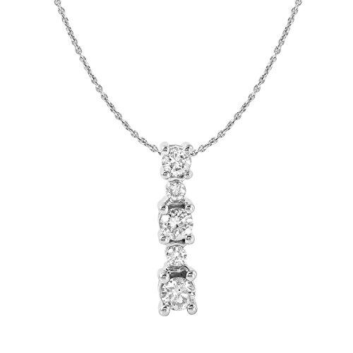 0.48 Carat Natural Diamond 14K White Gold Journey Pendant Necklace for Women