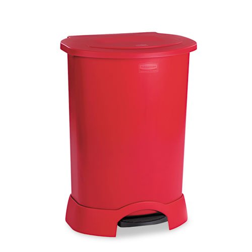 Rubbermaid Commercial 614700RD Step-On Container, Oval, Polyethylene, 30 Gallon, Red