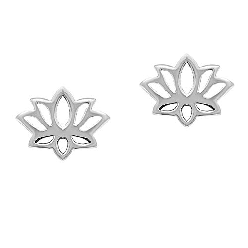 MANZHNE Geometric Blossom Lotus Earrings Simple Climber Blossoming Lotus Flower Stud Earrings (silver) ()