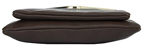 Big Handbag Shop - Bolso de asas de piel sintética para mujer Design 1 - Black