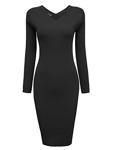 Tom's Ware Womens Casual V-Neck Knit Sweater Bodycon