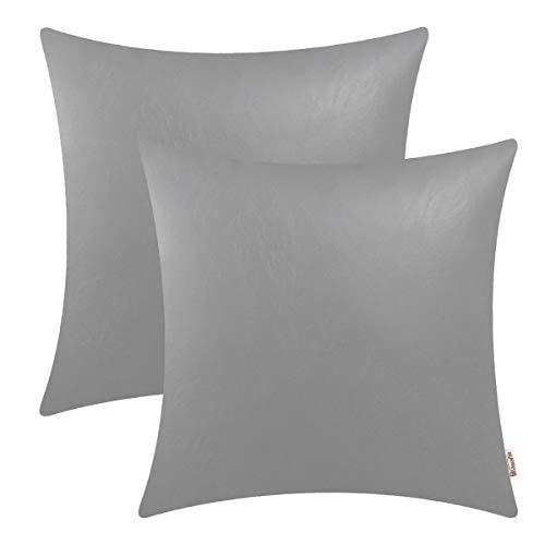 BRAWARM Cozy Throw Pillow Covers Cases for Couch Sofa Bed Solid Faux Leather Soft Cushion Covers Durable Pillowcase Home Decoration Accent Both Sides 20 X 20 Inches Medium Gray Pack of 2