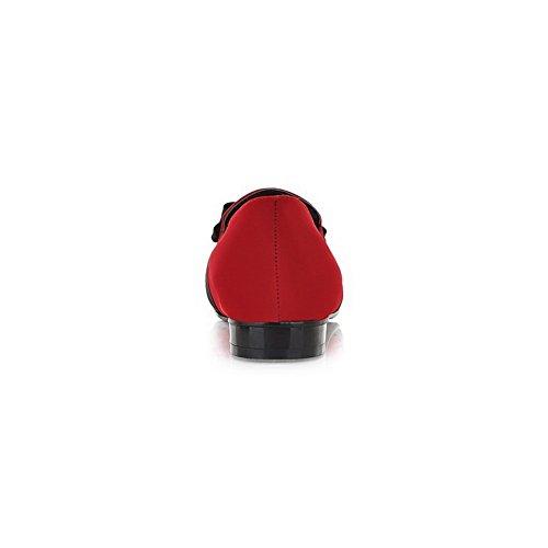 Balamasa Signore Tacchi Quadrati Bicolore Archi Mocassino Rosso Mocassino Rosso