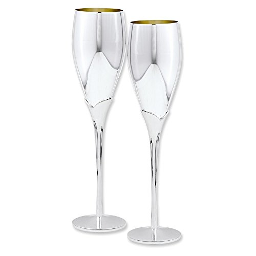 Silver-plated Pair of Champagne Flutes (Flute Italian Charm)
