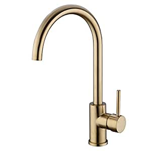 hanebath brushed gold brass 360 degree swivel hot cold mixer single handle kitchen sink faucet. Black Bedroom Furniture Sets. Home Design Ideas