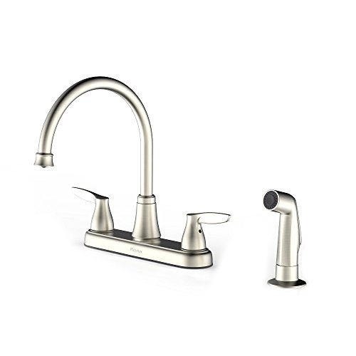 Purelux Two Handle Kitchen Faucet with Sprayer, Brushed Nickel (Hole Kitchen 2)
