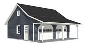 Garage plans roomy 2 car garage plan with 6 ft front for 20 x 24 garage plans