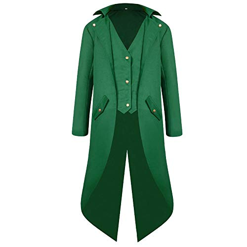 YOcheerful Men Women Coat Tuxedo Coat Formal Suit Tailcoat Jacket Uniform Costume Praty Outwear Vintage Trench Coat Overcoat (Green,US-L/Label-XL)